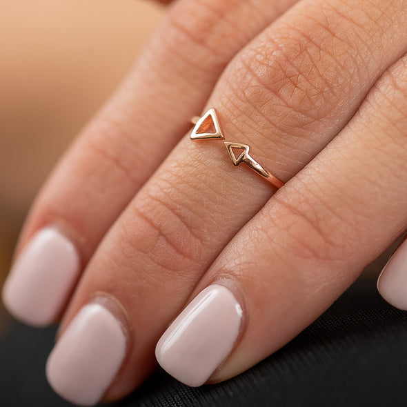 Double Trouble Midi Ring - Rose Gold
