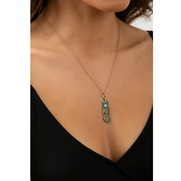 Farrah Feather Necklace - Turquoise