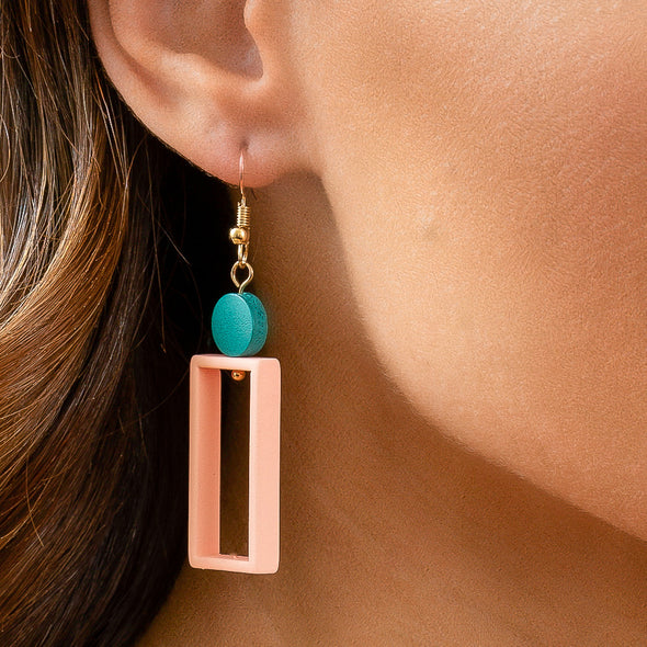 Geo Earrings - Pink
