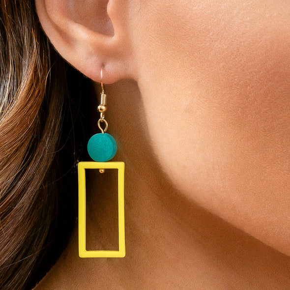 Geo Earrings - Yellow