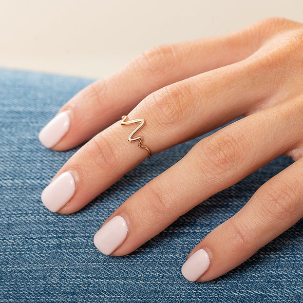 Heartbeat Midi Ring - Rose Gold