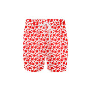 Speckle Red and White Swim Trunks