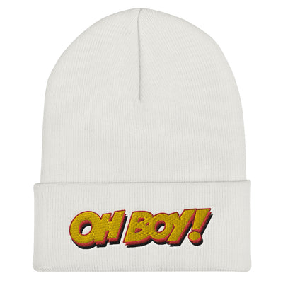 Oh Boy! Signature White Cuffed Beanie