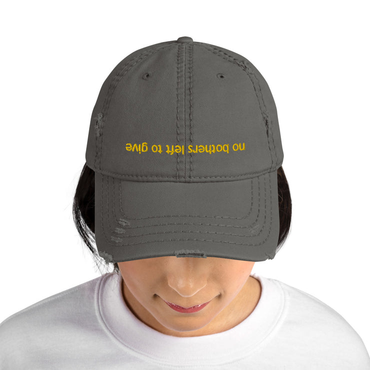 No Bothers Left to Give Grey Distressed Dad Cap