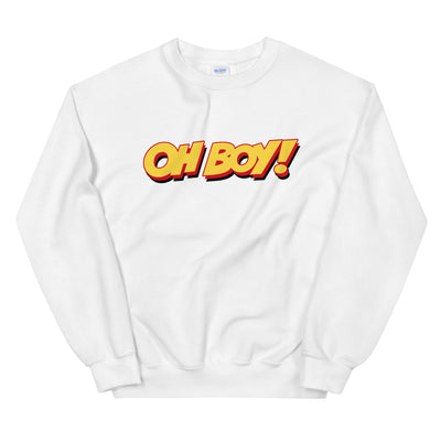 Oh Boy! Signature Womens White Sweatshirt