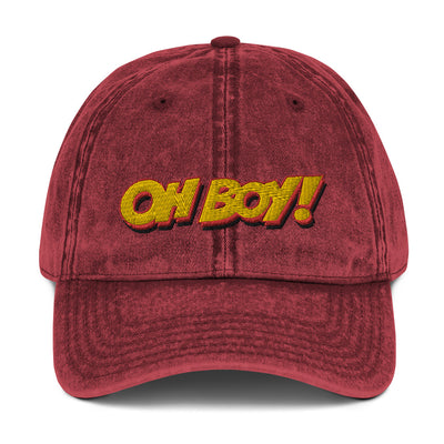 Oh Boy! Signature Red Vintage Dad Cap