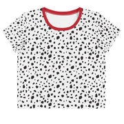 Dalmatian Crop T-Shirt With Red Trim