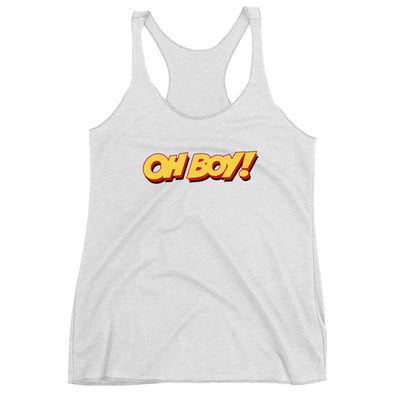 Oh Boy! Signature Womens White Racerback Tank Top