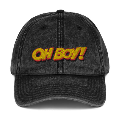 Oh Boy! Signature Vintage Black Dad Cap