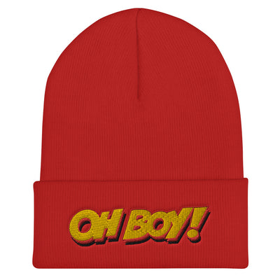 Oh Boy! Signature Red Cuffed Beanie