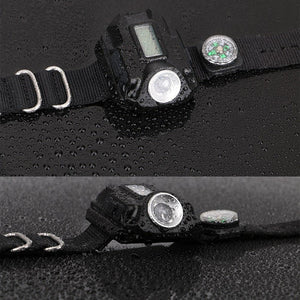 LED watch flashlight flashlight portable light USB charging 4 mode light tactical flashlight time display with compass - Tactical Cave