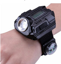 Load image into Gallery viewer, LED watch flashlight flashlight portable light USB charging 4 mode light tactical flashlight time display with compass - Tactical Cave