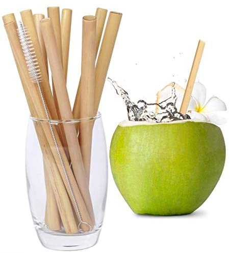 Boonboo Straws | 100% Bamboo Drinking Straws |Set of 16pcs + Cleaning Brush |100% Natural & Reusable | Sustainable, Biodegradable & Plastic-Free