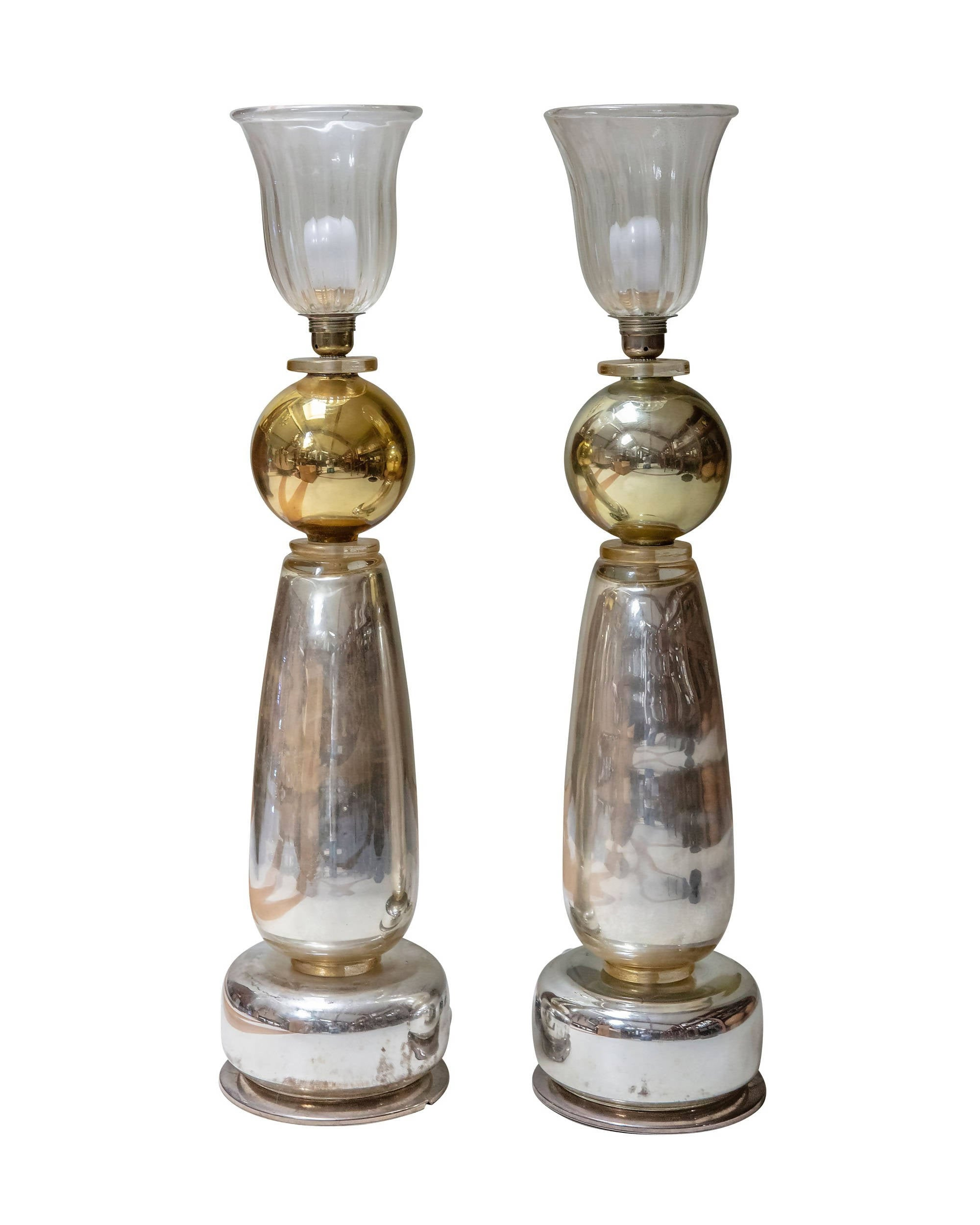 Pair of Murano crystal lamps