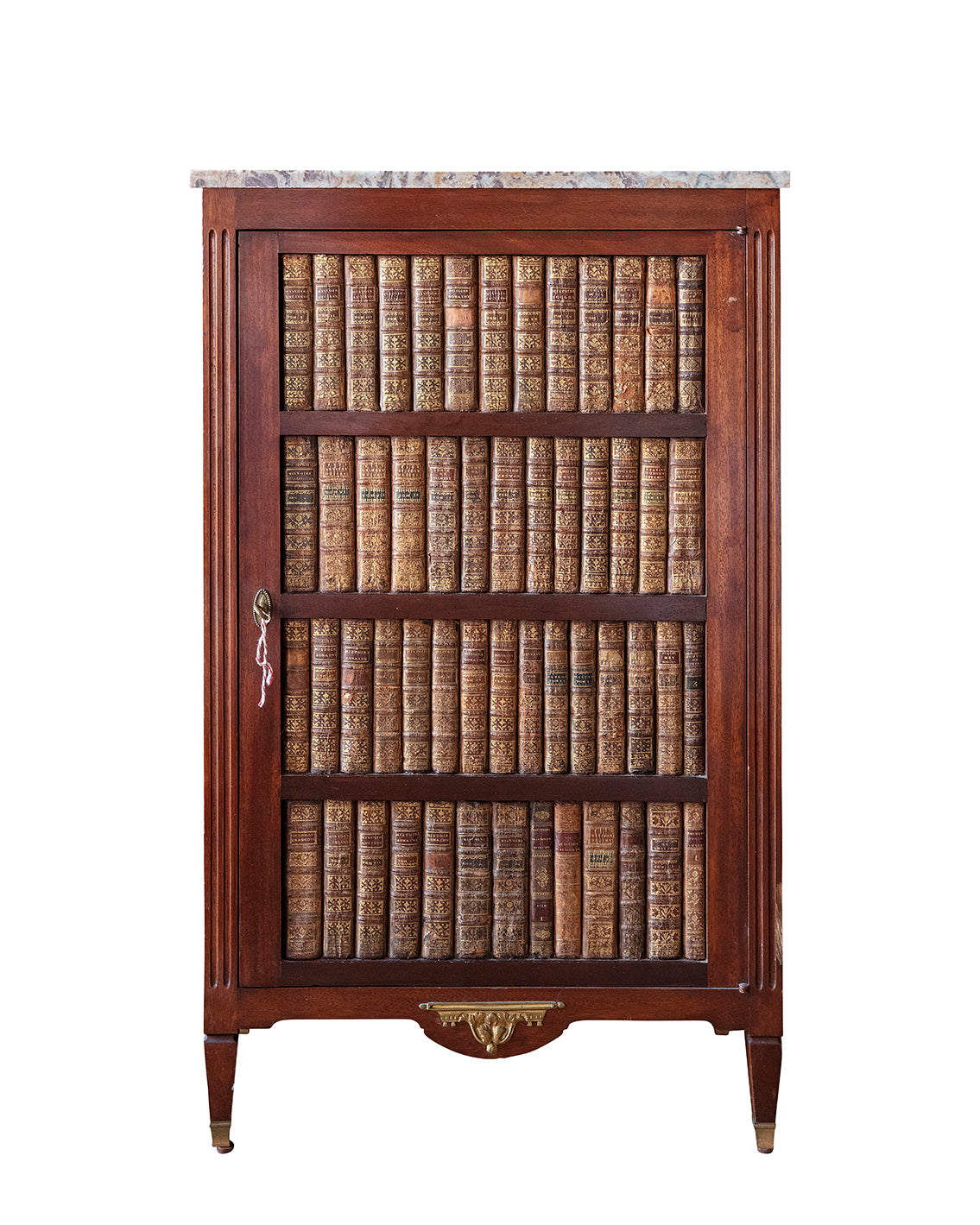"Low armoire Luis XVI with a ""trompe l'oeil"" front of books"
