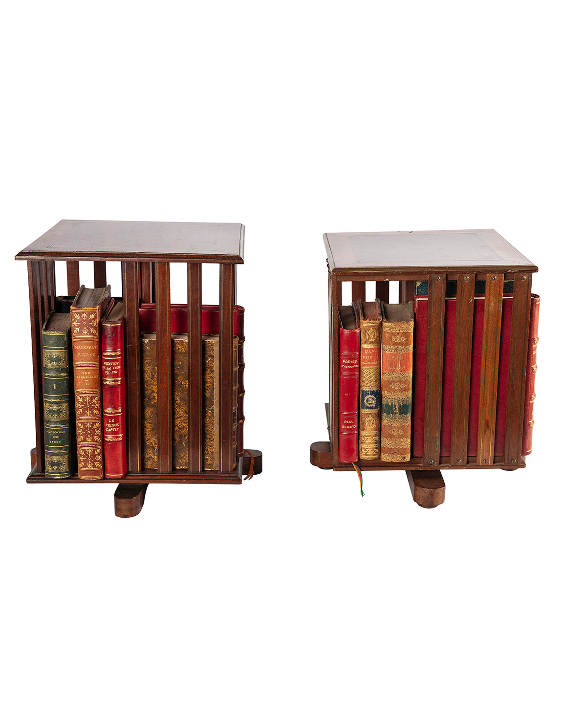 Pair of revolving bookcase tables. Beginning of the XXth century