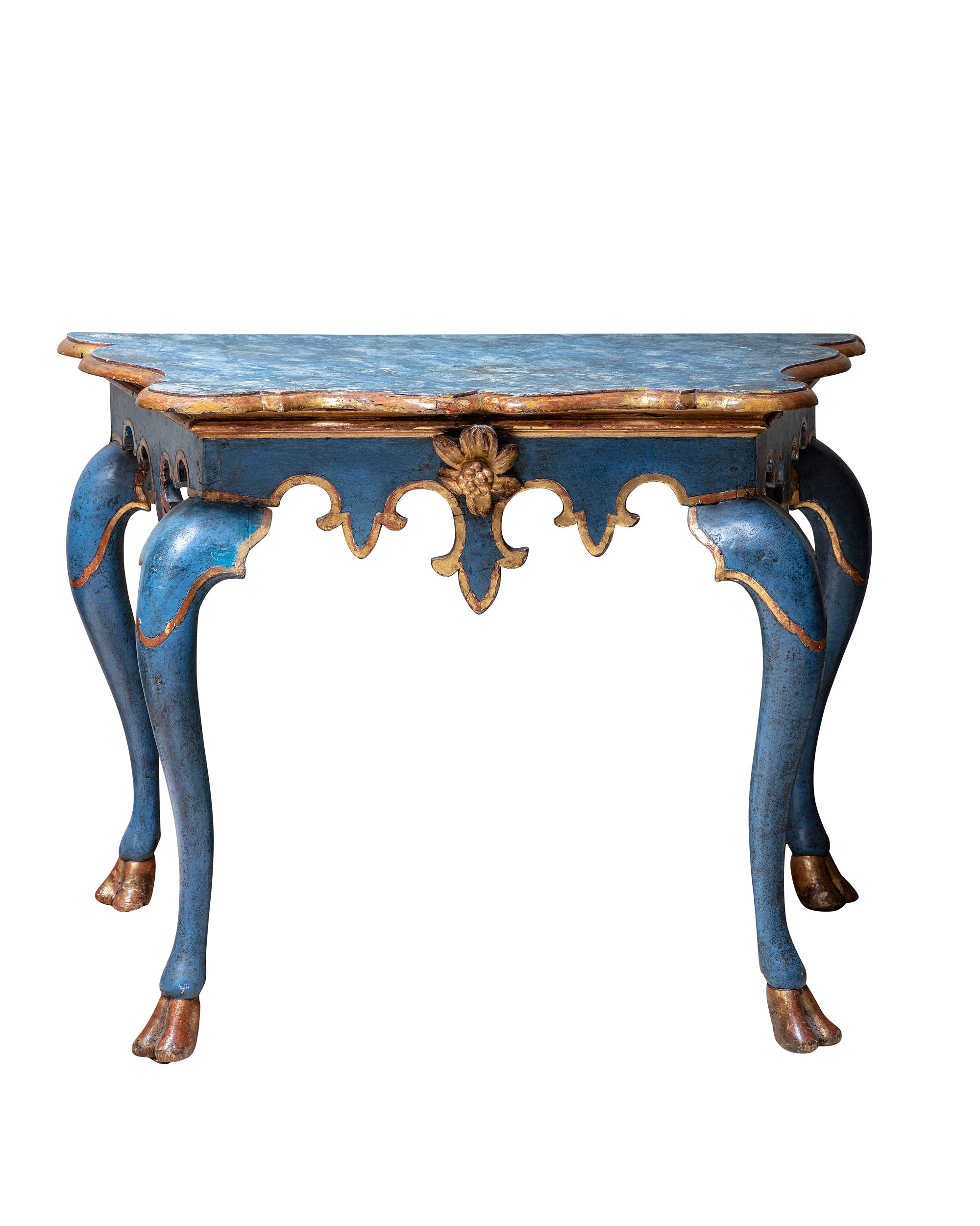 Blue and gold console carved in wood. Italy. XVIIIth century