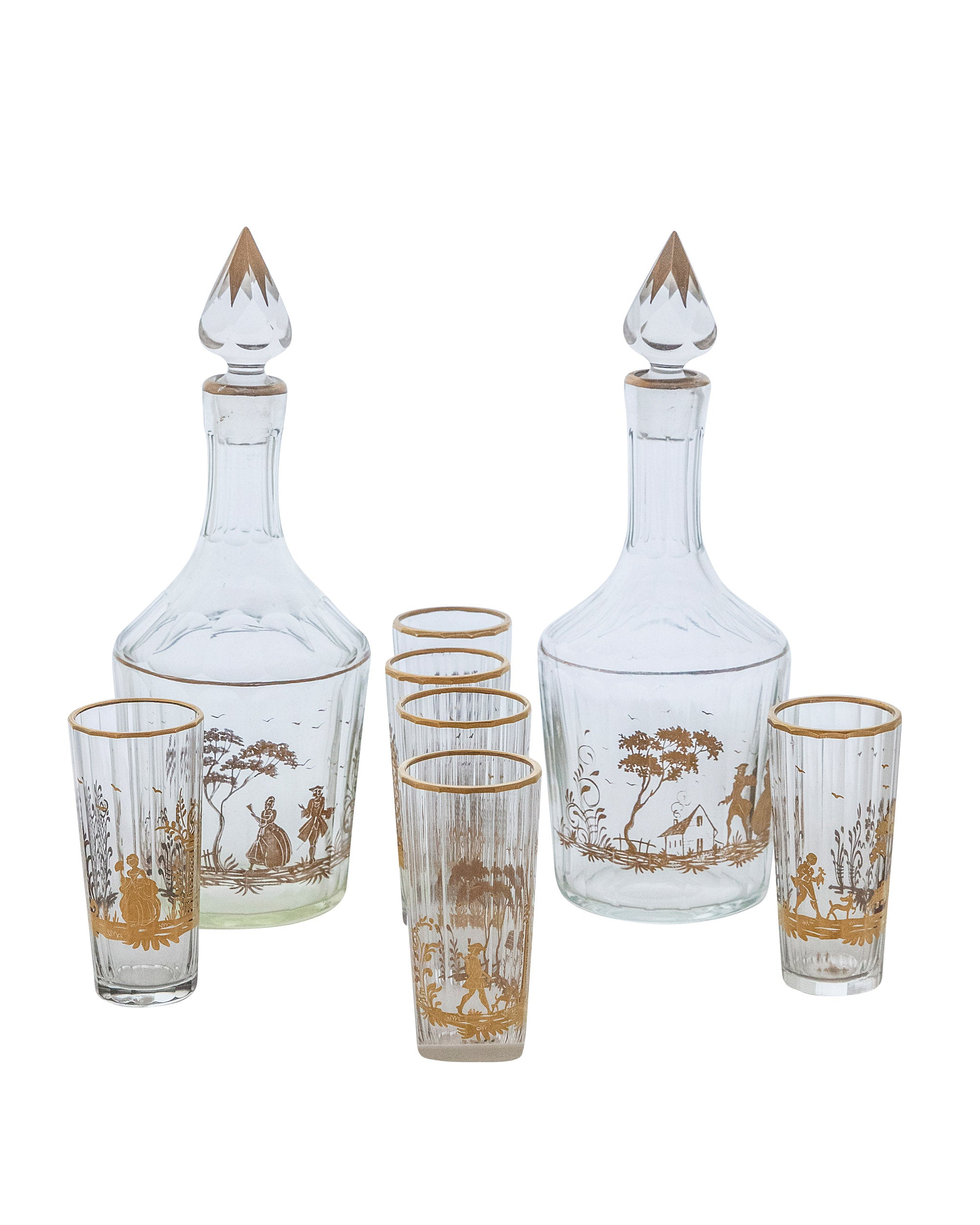 Hand painted set consisting of two bottles and six fluted crystal glasses