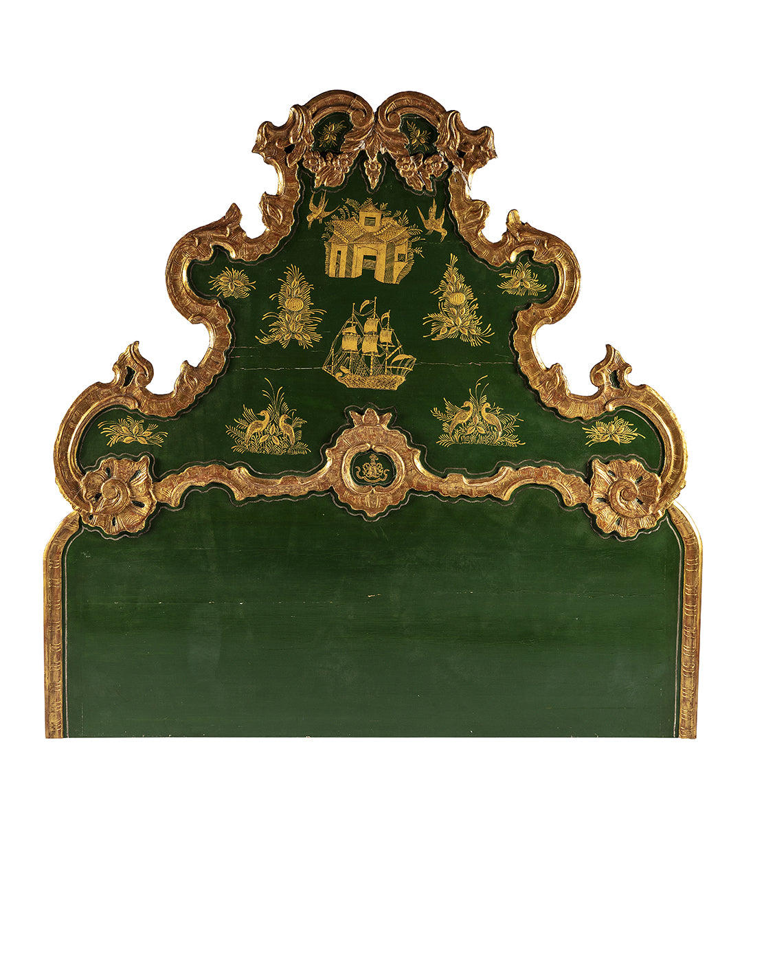 Green and gold oriental-styled lacquered headboard