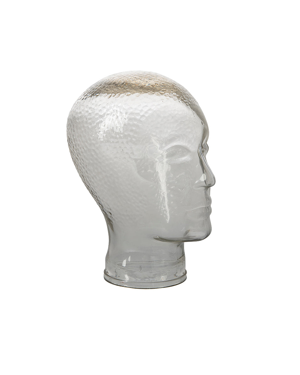 Glass head sculpture in transparent color