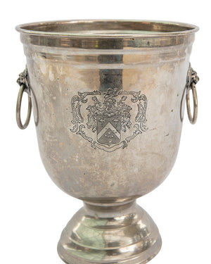 Silver plated metal champagne cooler