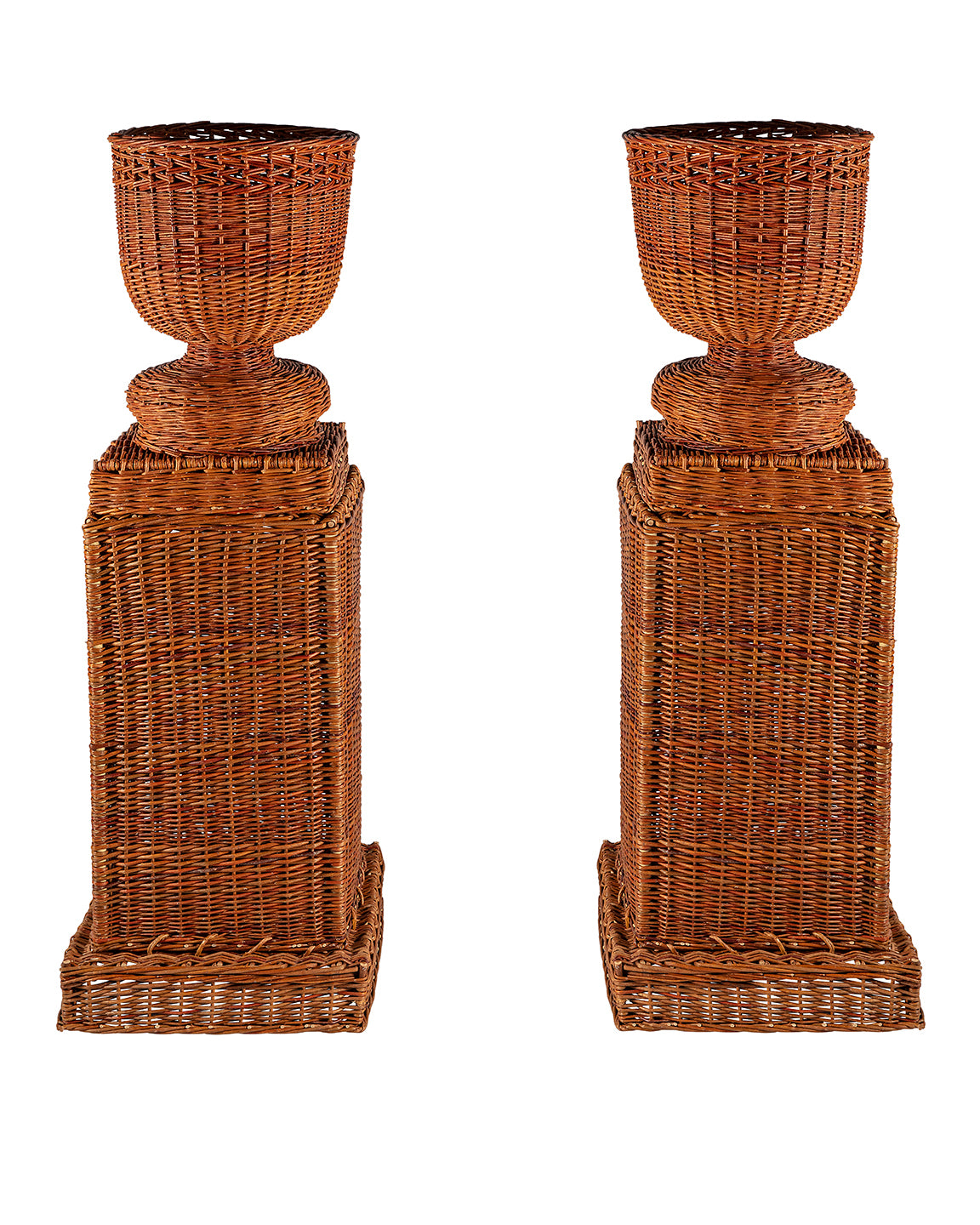 Wicker vases and plinths
