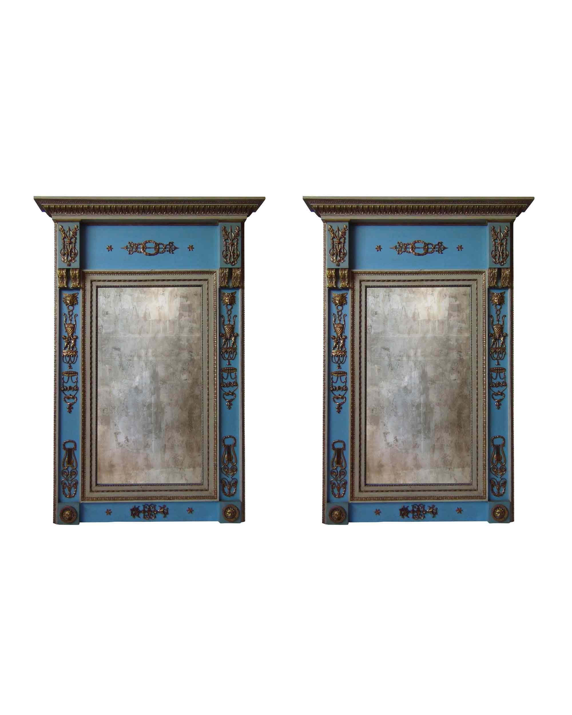 Couple of mirrors in polychrome and carved wood with golden details. Spain. First half of the XIXth century