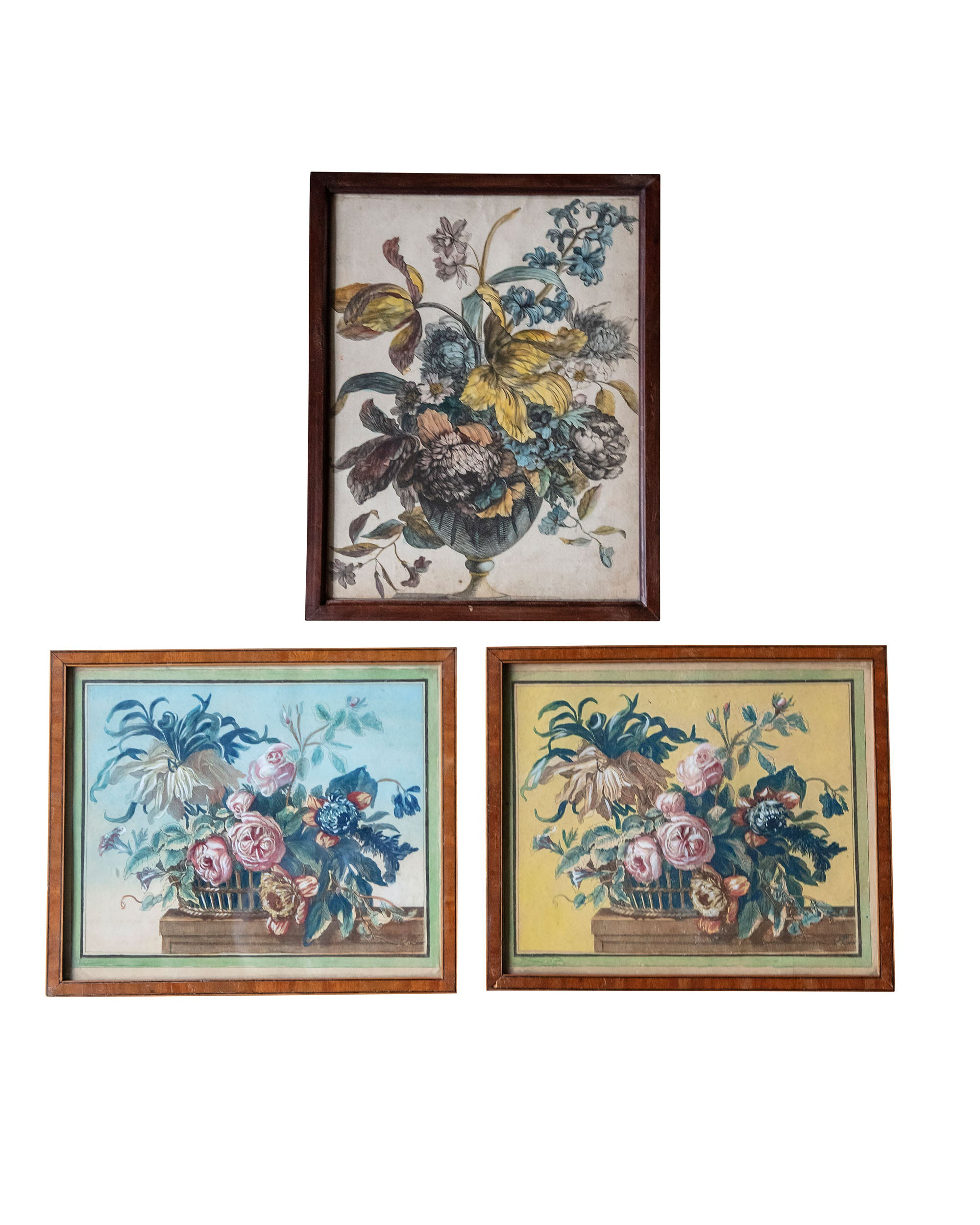 Set of three engravings depicting bouquets of flowers from the XVIIth century
