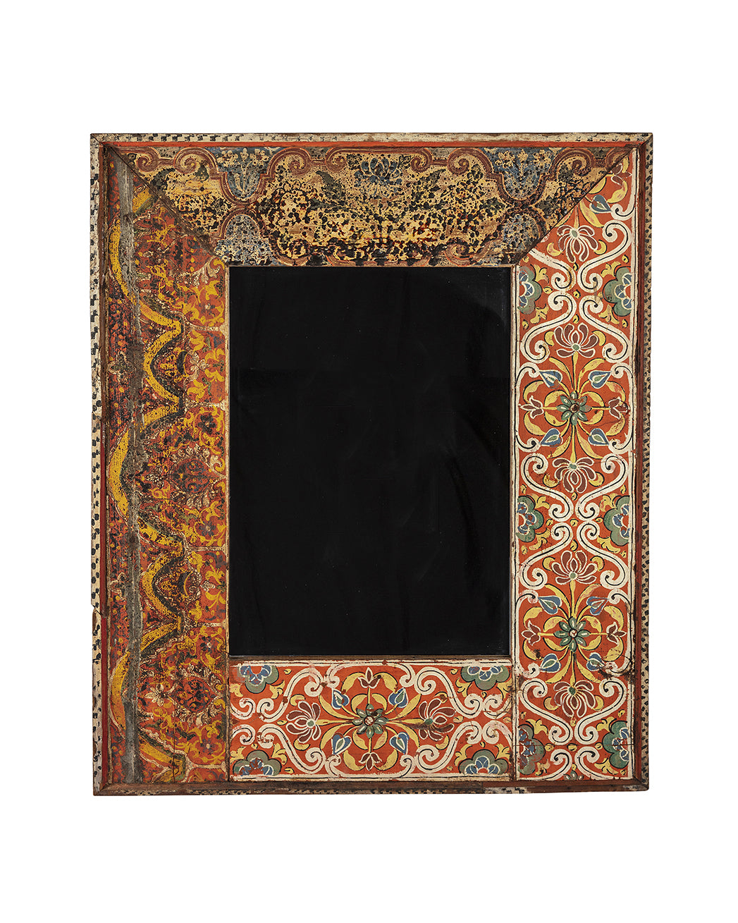Mirror with a polychrome wooden frame