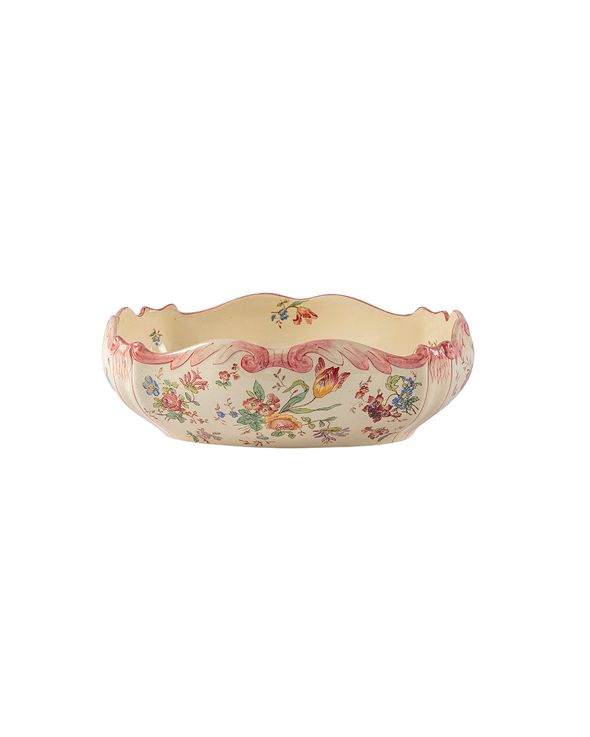 Ceramic serving dish with floral motifs