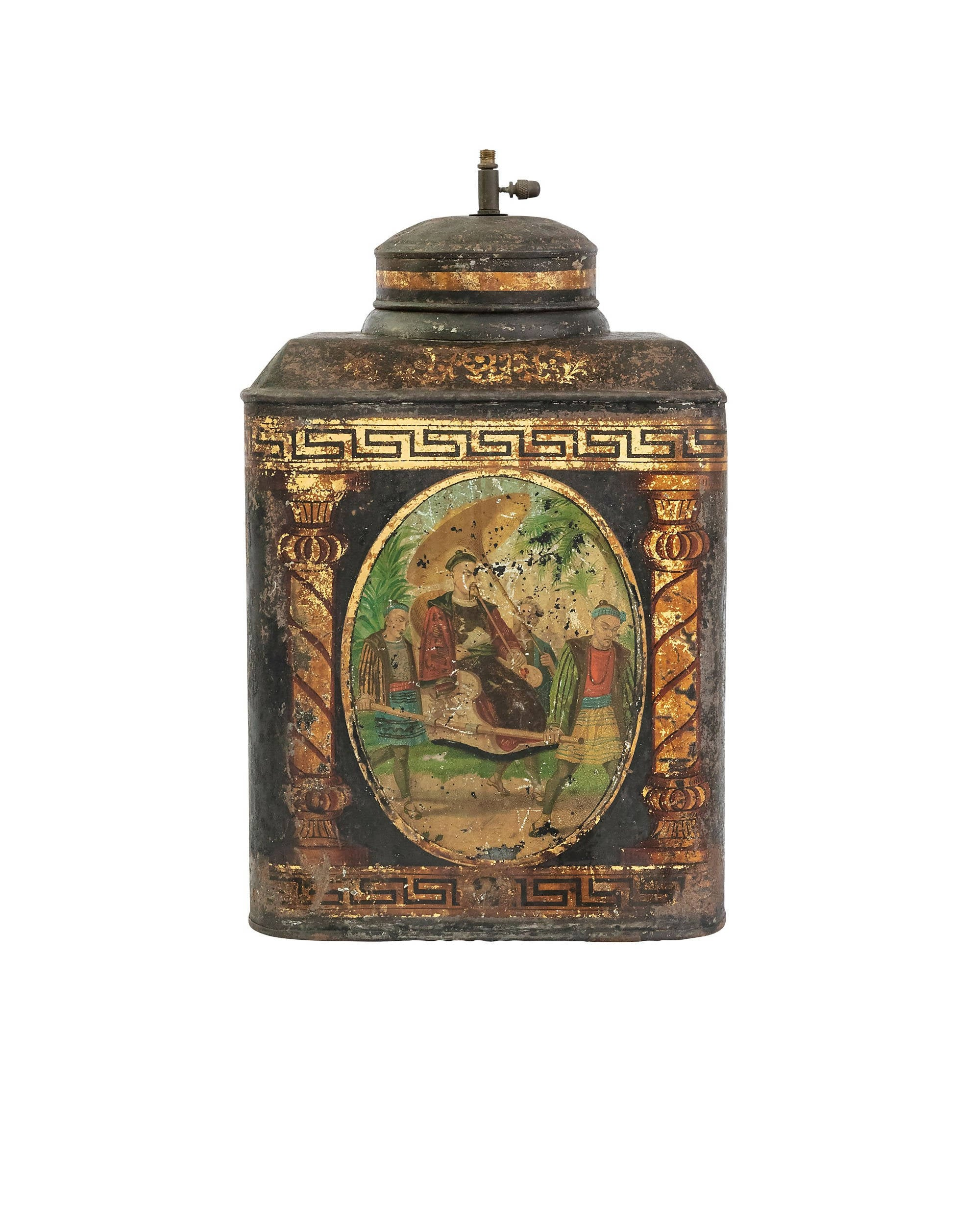 Hand-painted tea tin with Chinese-styled motifs
