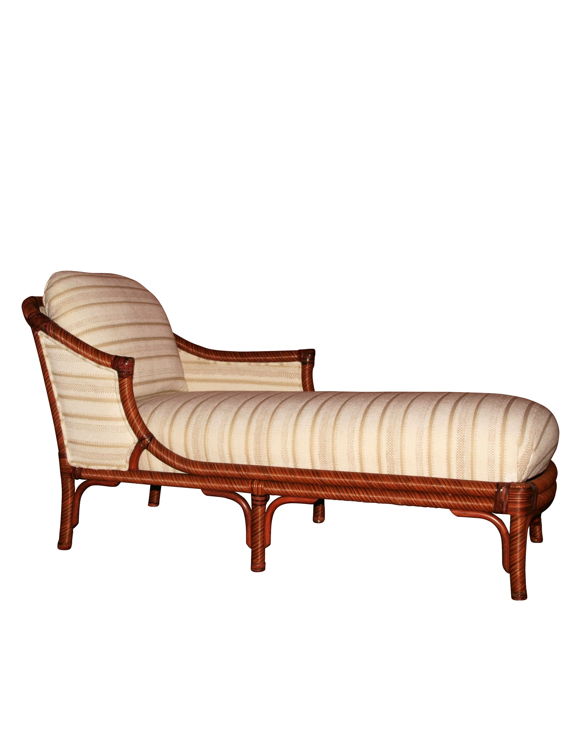 Rattan and leather vintage chaise longue