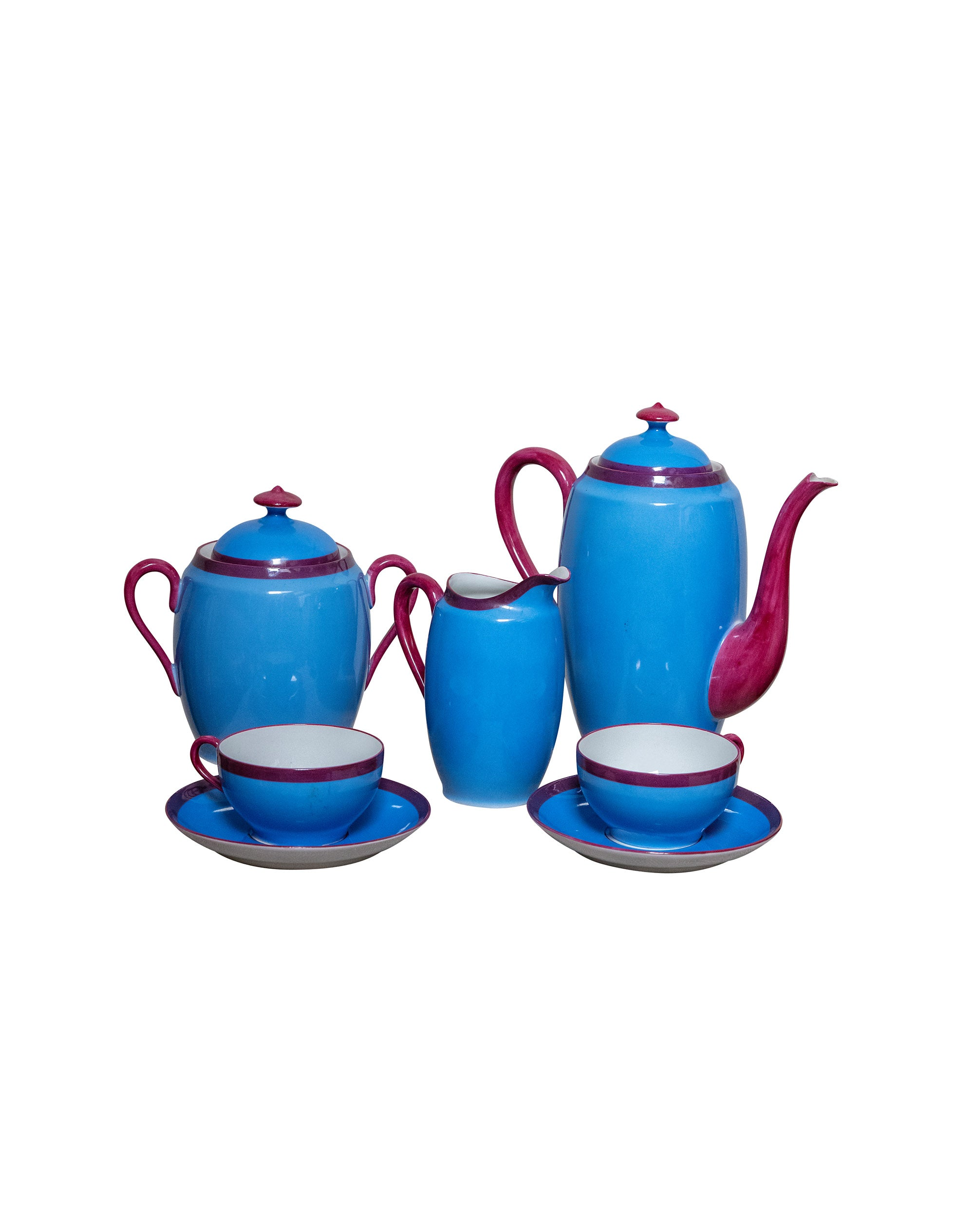 Blue Limoges coffee set with burgundy rim
