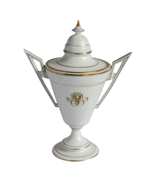 White porcelain coffee set with golden edge and initials from the 1920s