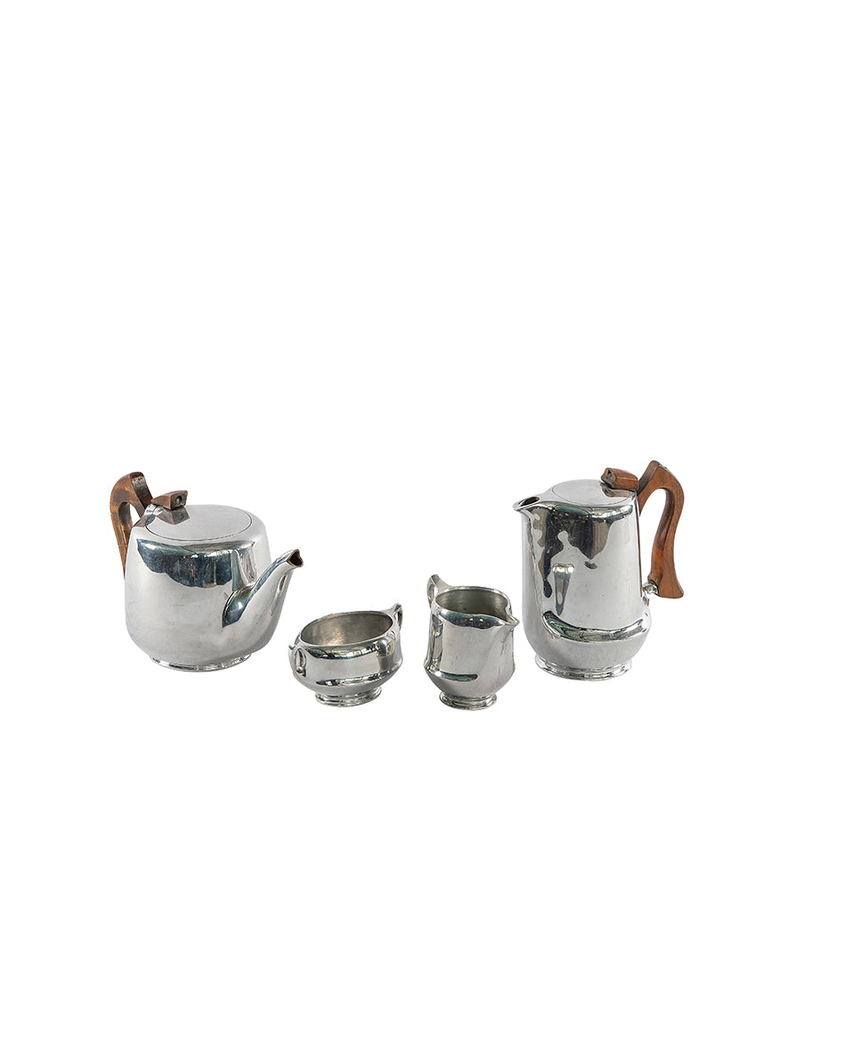 Coffee set in silver with wooden handles, 1960s
