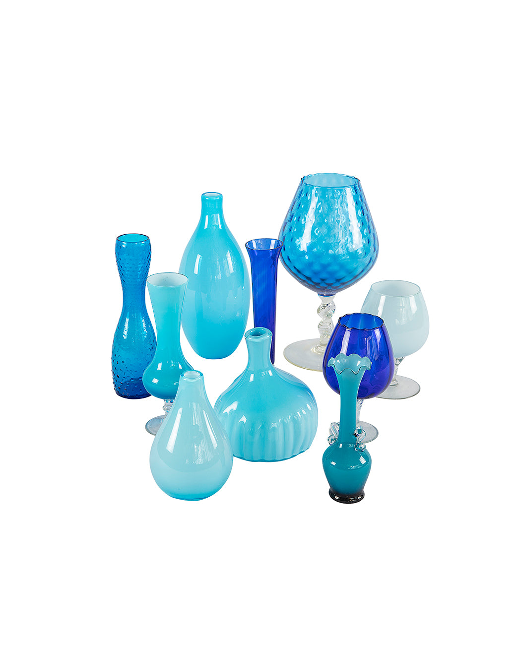Assortment of ten blue crystal vases
