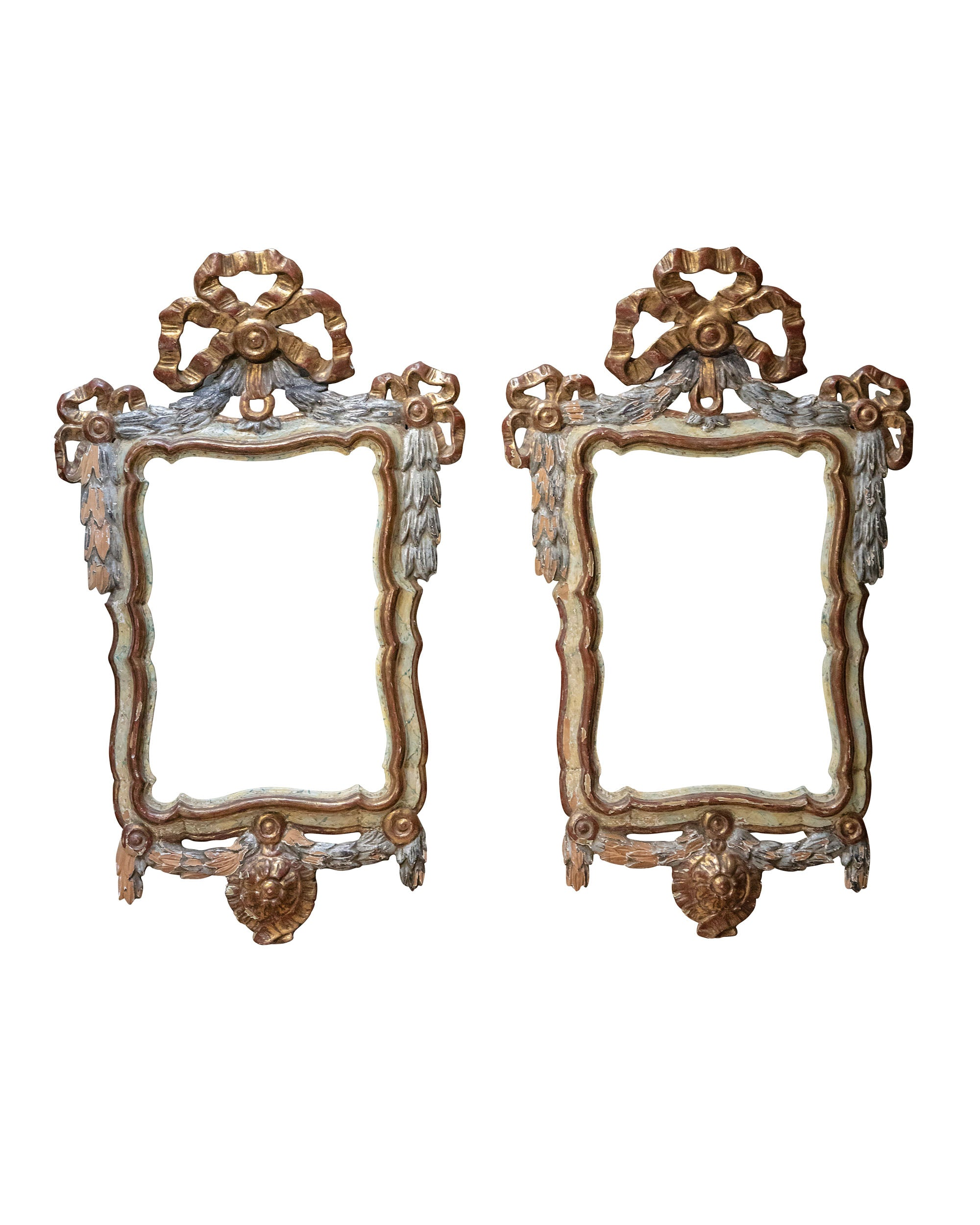 Pair of polychrome wood frames topped by garland and golden bow. XVIIIth century