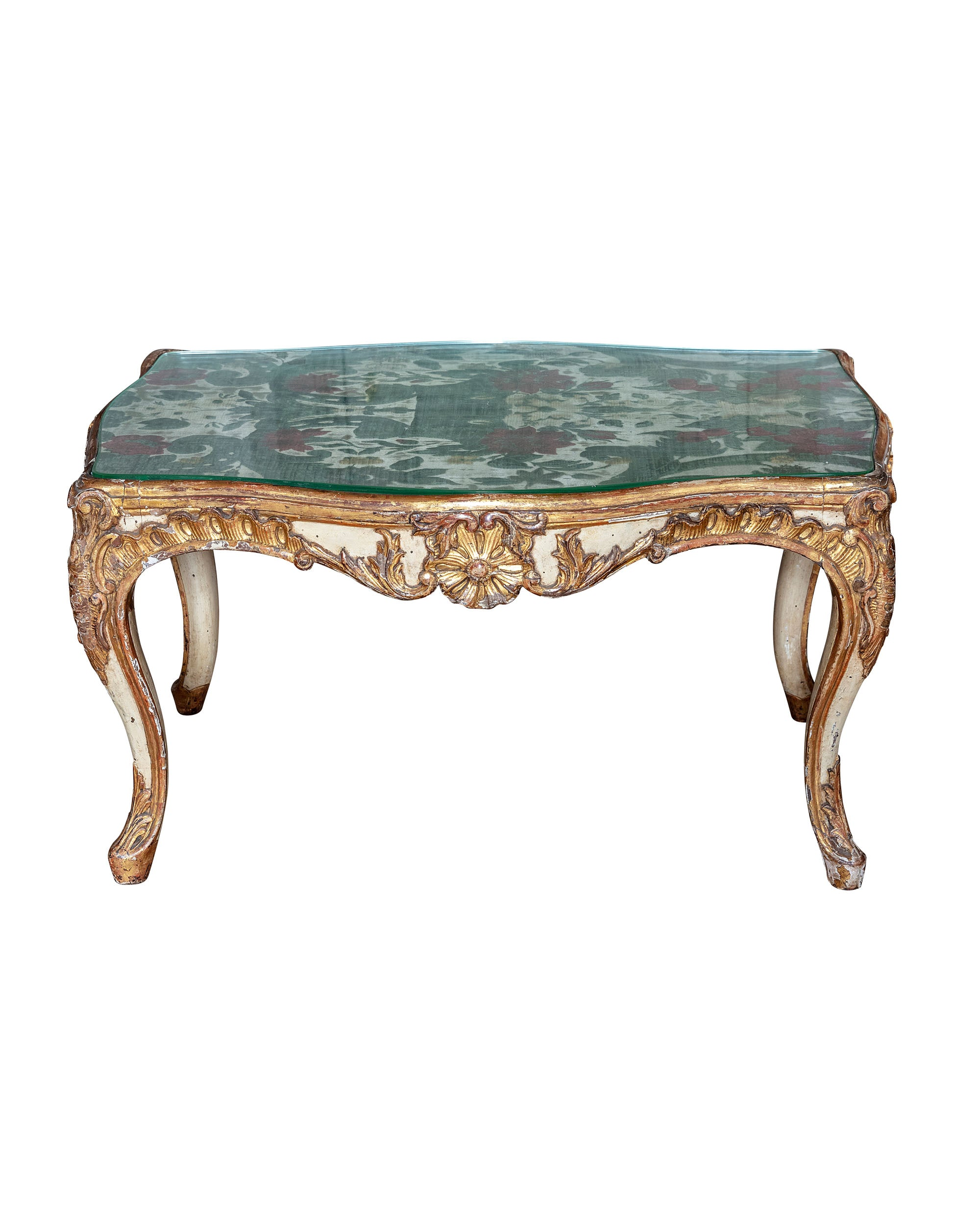 Carved wooden side table with velvet and silk damask fabric top. XVIIIth century