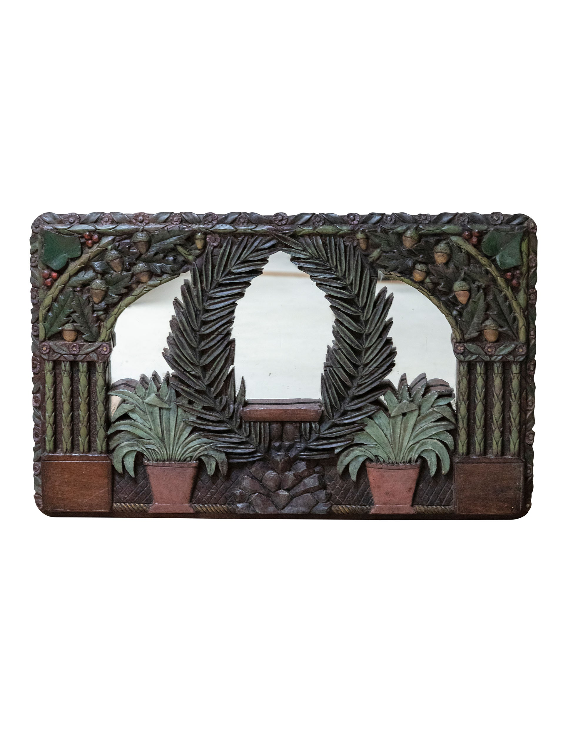 Polychrome mirror carved in wood depicting vegetation