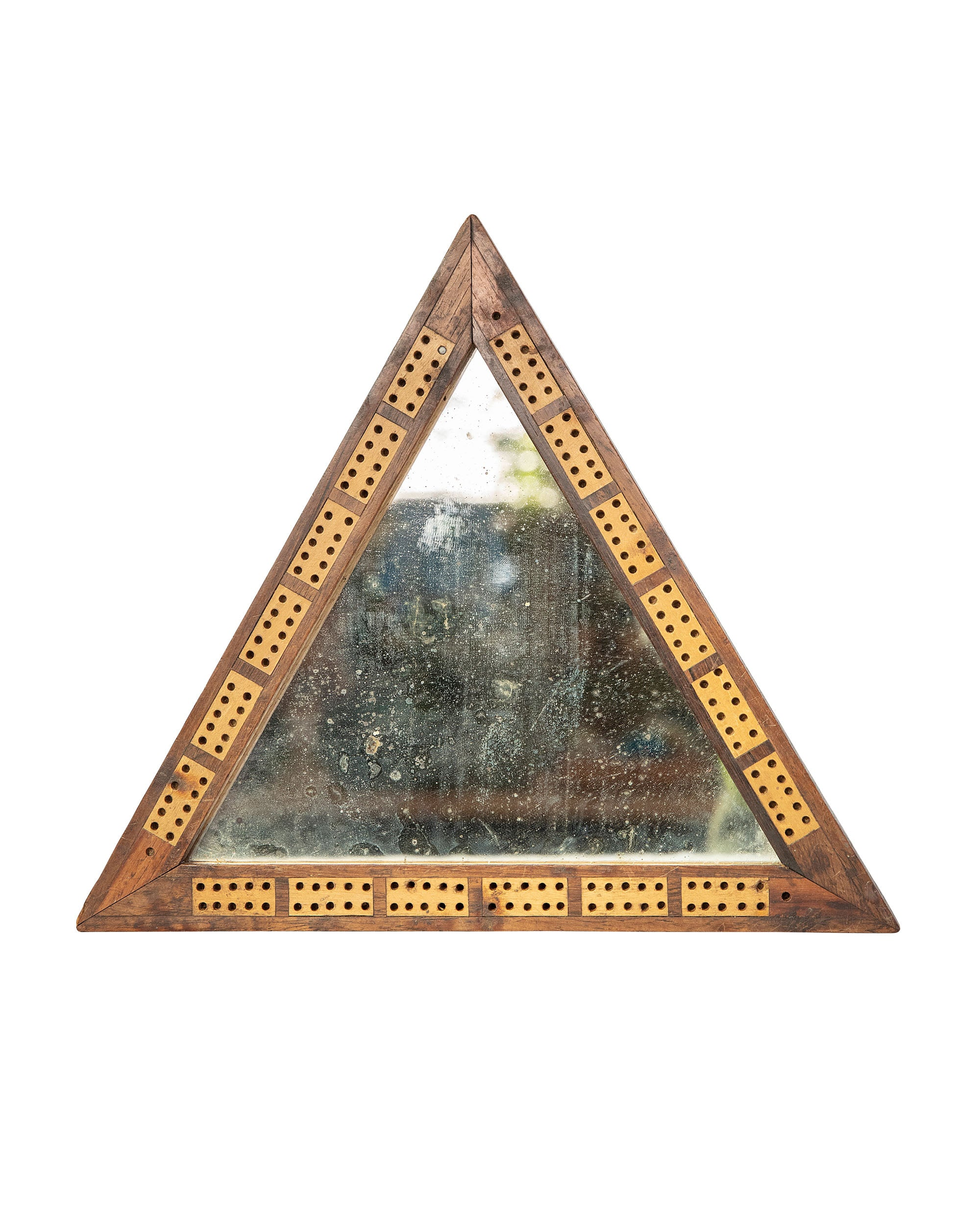 Triangular mirror with wooden frame with domino pieces