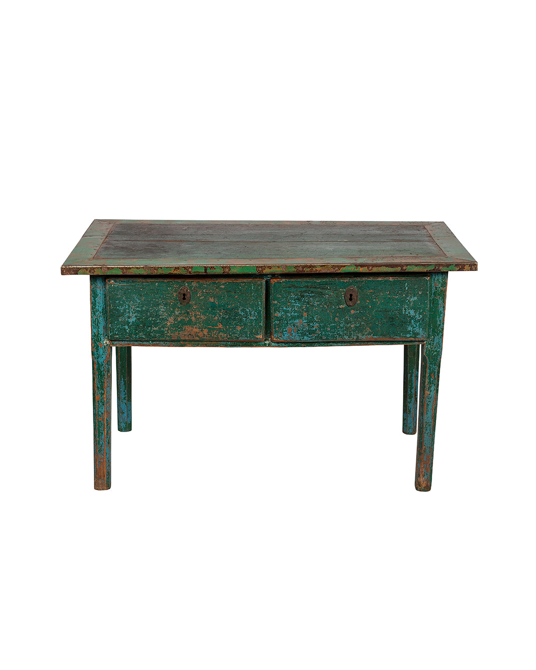 Polychrome green and blue table