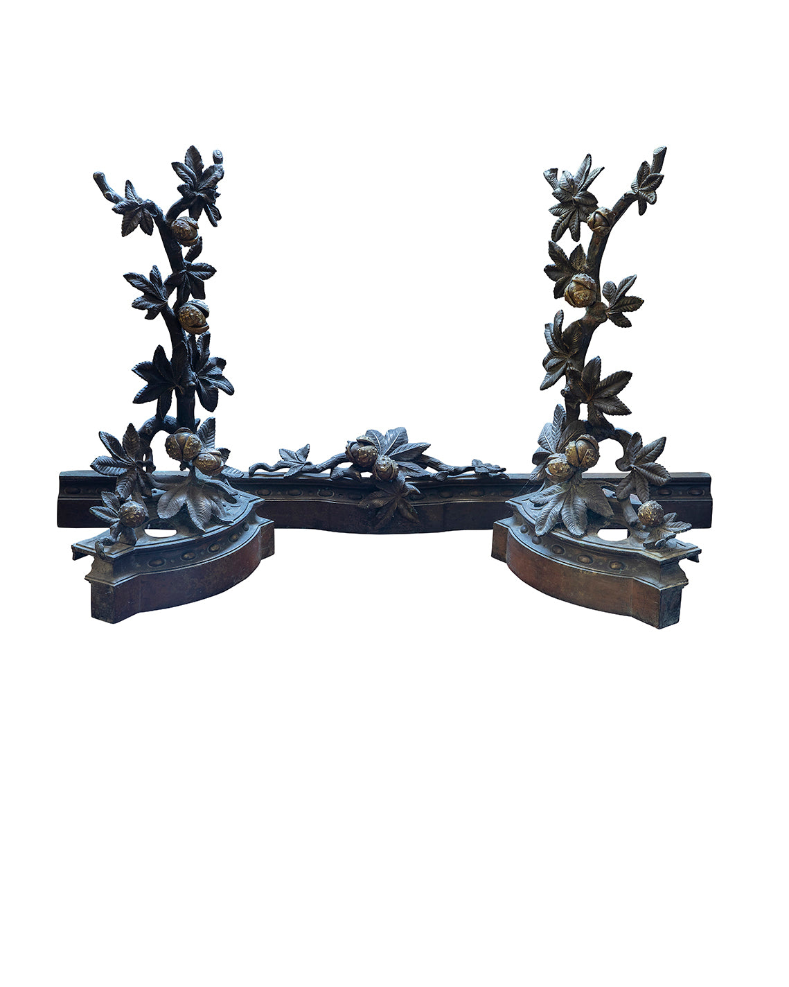 Andirons and chimney bar with chestnut branches decoration. End of the XIXth century