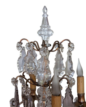 Pair of Louis XV girandoles in bronze and glass. Early XIXth century
