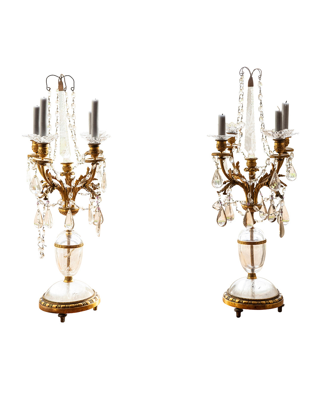 Pair of candelabra with rock crystals