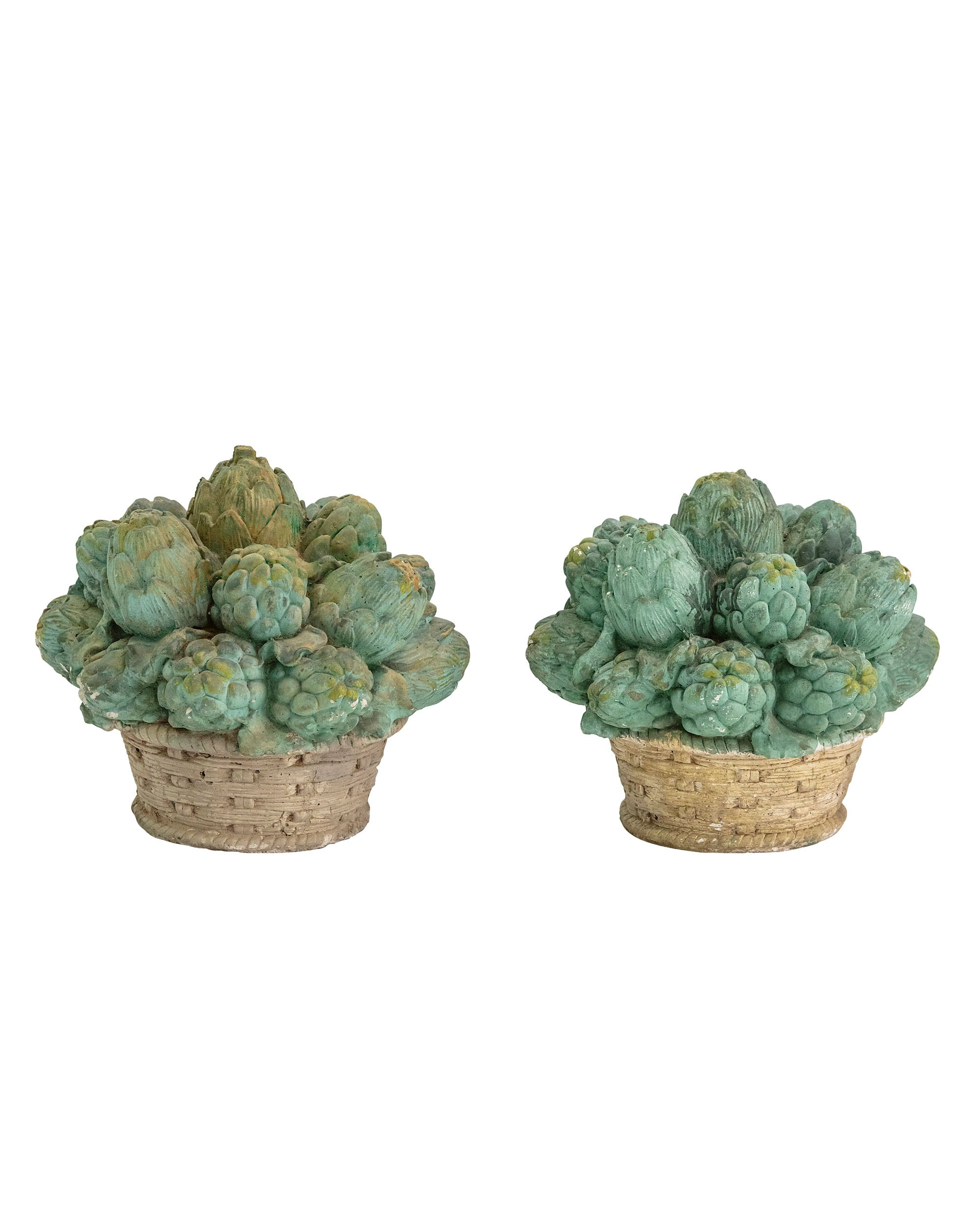 Pair of artichoke baskets made of cement