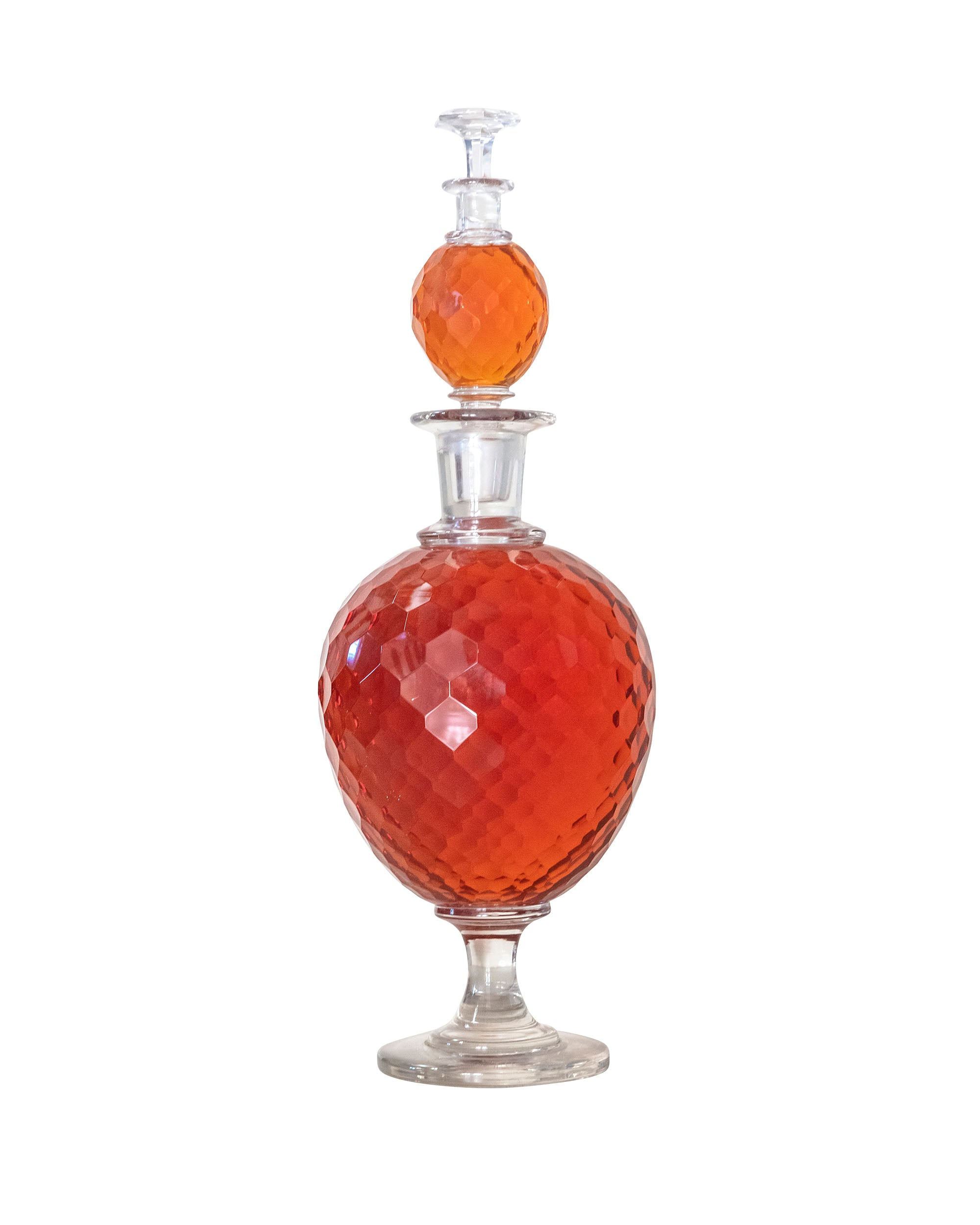 Large double amber Bacarrat perfume bottle made of glass