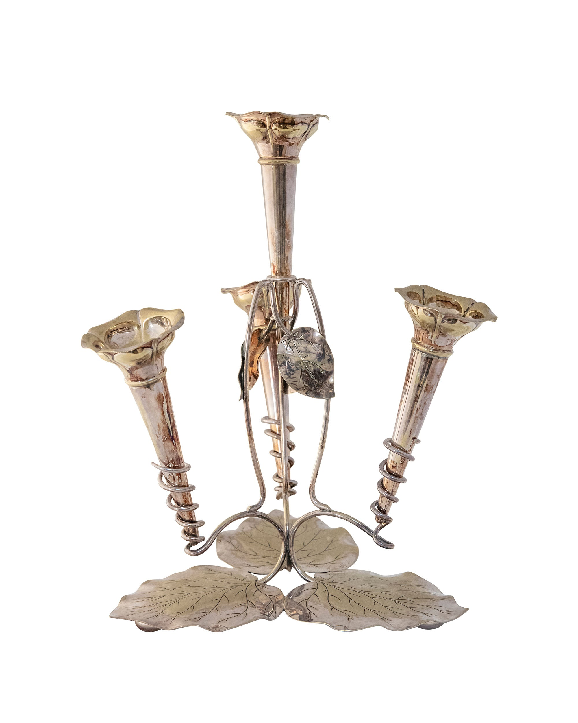 Silver vase composed of four bud vases