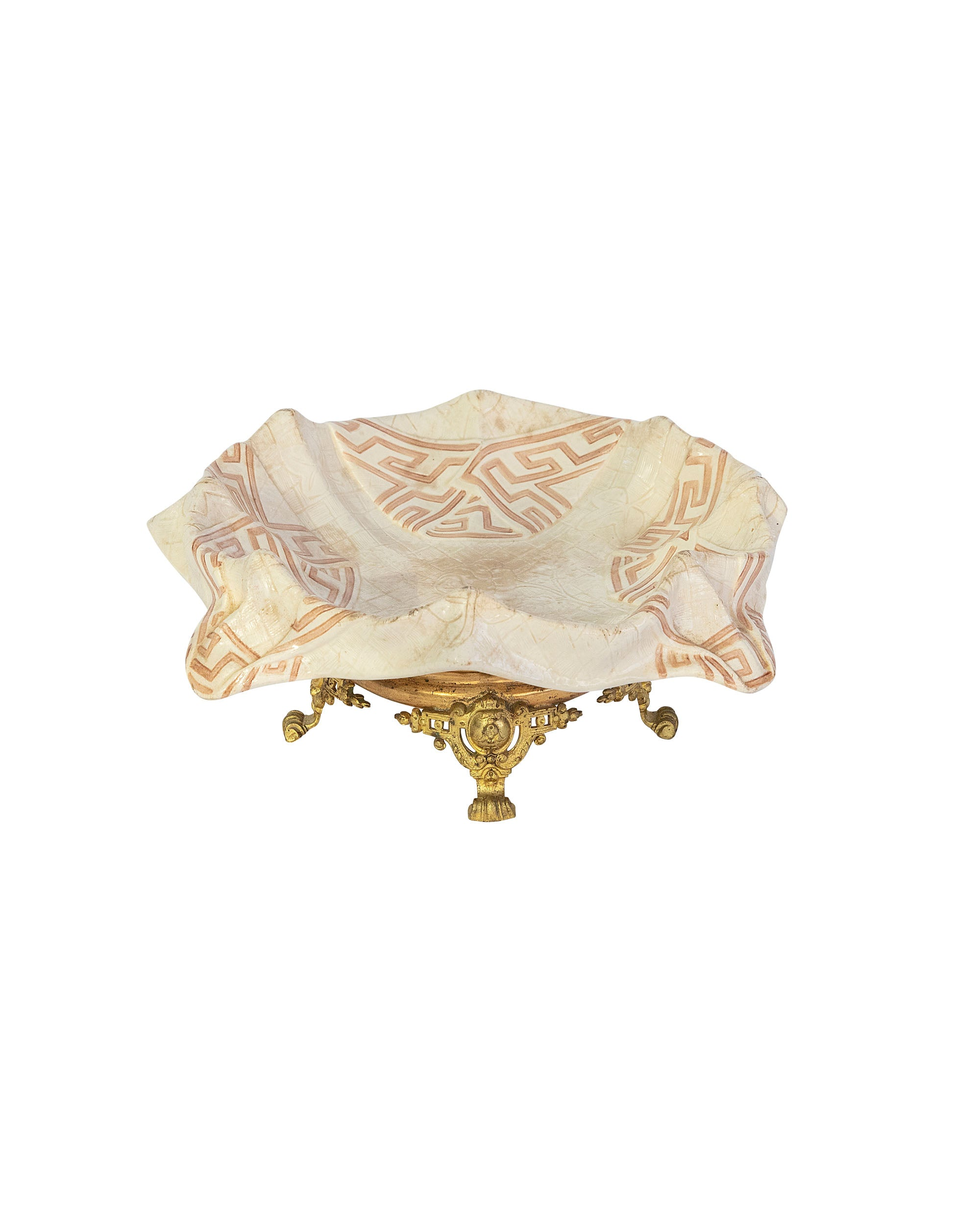 "Porcelain fruit bowl ""trompe l'Oeil"" shaped like a Serragamines' scarf mounted on a brass stand"