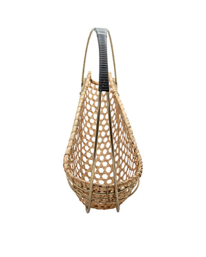 Wicker and brass bottle holder. 1950's