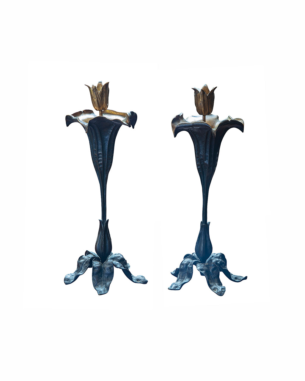 Pair of bronze candle holders shaped like flowers. End of XIXth century